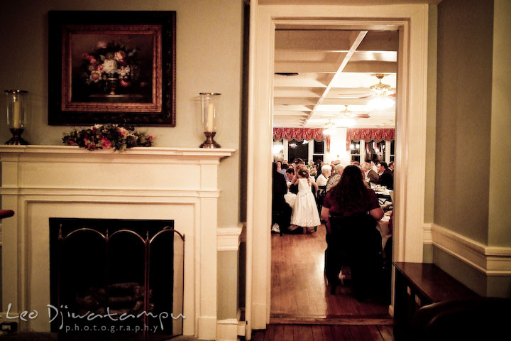 Guests in dining room, during reception.