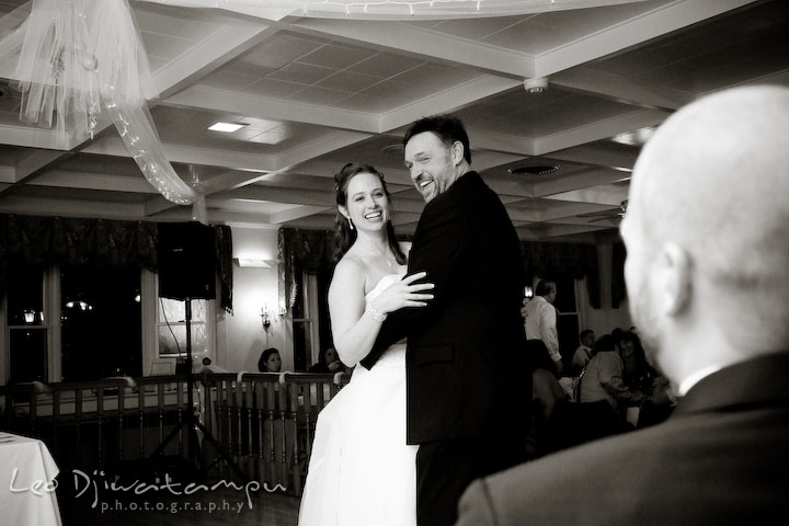 Groom watching bride's first dance with her father. Kitty Knight House Georgetown Chestertown MD Wedding Photographer