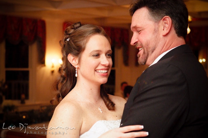 Bride and father of bride dancing, smiling. Kitty Knight House Georgetown Chestertown MD Wedding Photographer