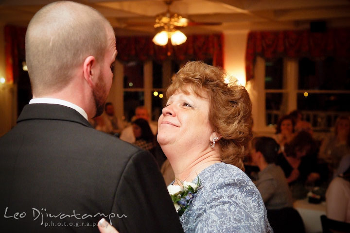 Groom and mother of groom dancing. Kitty Knight House Georgetown Chestertown MD Wedding Photographer