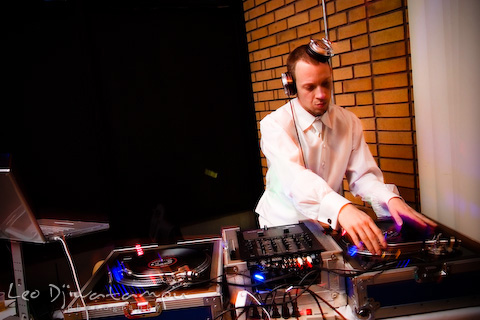 turntable dj mixing at gala event party