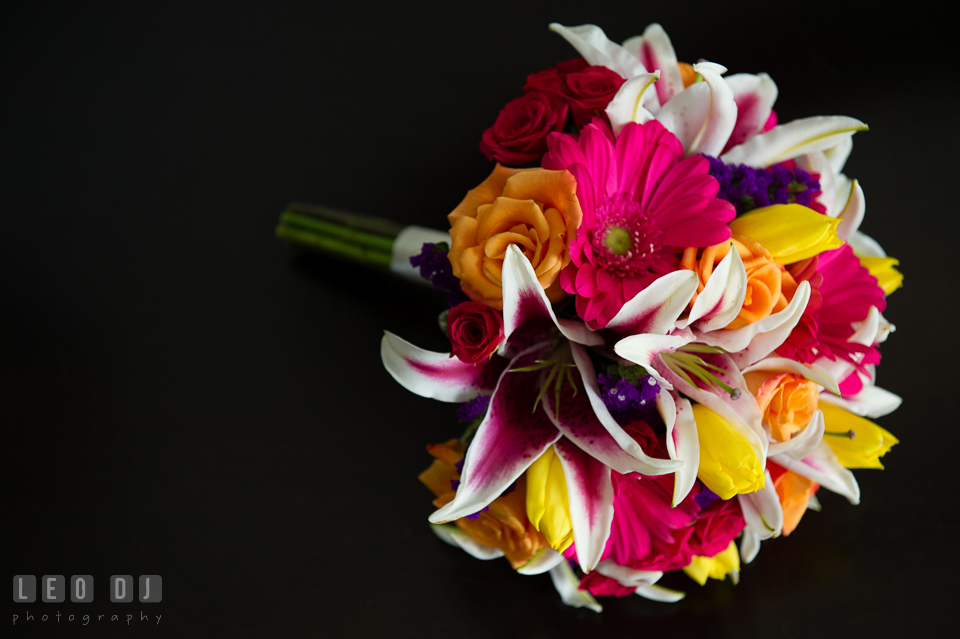 Colorful flowers arranged by Florist Robin's Nest for the Bride's bouquet. The Tidewater Inn wedding, Easton, Eastern Shore, Maryland, by wedding photographers of Leo Dj Photography. http://leodjphoto.com
