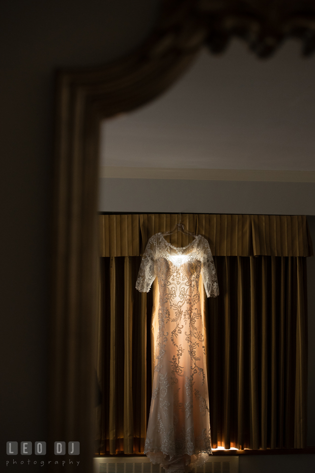 Beautiful laced classic wedding gown from Mary's Designer Bridal Boutique, designed by Maggie Sottero. The Tidewater Inn wedding, Easton, Eastern Shore, Maryland, by wedding photographers of Leo Dj Photography. http://leodjphoto.com