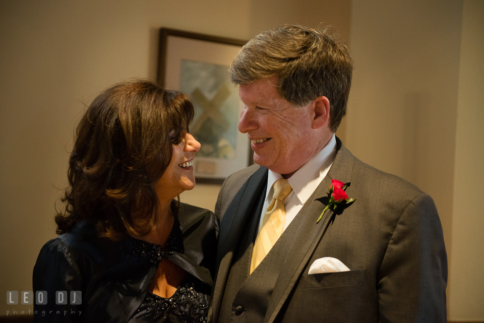 Mother and Father of the Groom smiling together. The Trinity Cathedral wedding, Easton, Eastern Shore, Maryland, by wedding photographers of Leo Dj Photography. http://leodjphoto.com