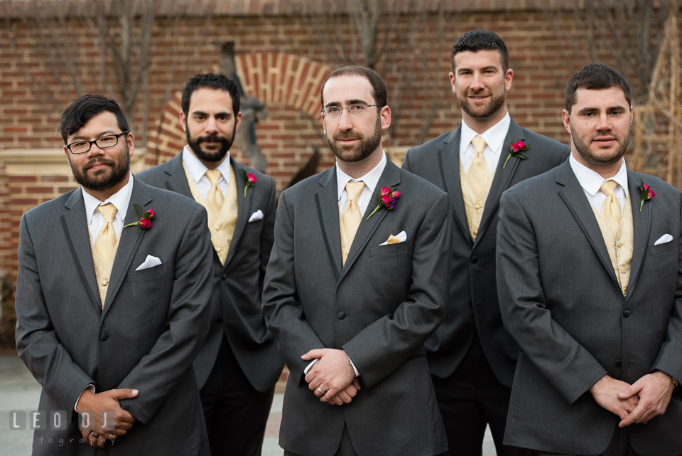 Groom along with his Best Man and Groomsmen. The Tidewater Inn wedding, Easton, Eastern Shore, Maryland, by wedding photographers of Leo Dj Photography. http://leodjphoto.com
