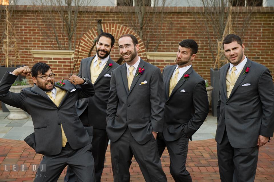 Groom and the guys doing goofy pose. The Tidewater Inn wedding, Easton, Eastern Shore, Maryland, by wedding photographers of Leo Dj Photography. http://leodjphoto.com