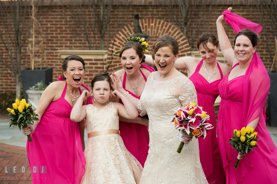 Bride and the bridal party doing goofy pose. The Tidewater Inn wedding, Easton, Eastern Shore, Maryland, by wedding photographers of Leo Dj Photography. http://leodjphoto.com
