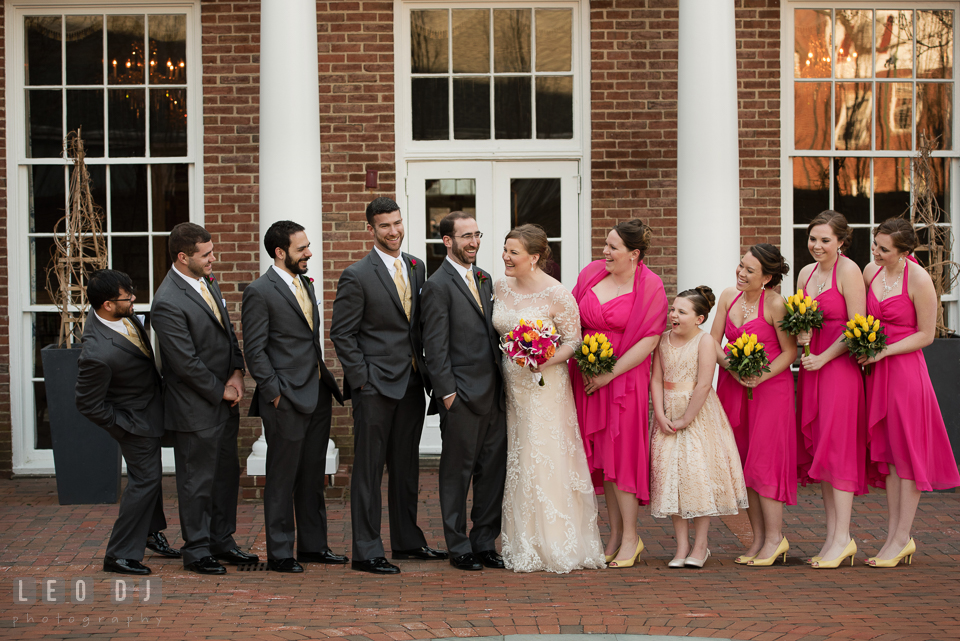 Bride and Groom with their whole wedding party. The Tidewater Inn wedding, Easton, Eastern Shore, Maryland, by wedding photographers of Leo Dj Photography. http://leodjphoto.com