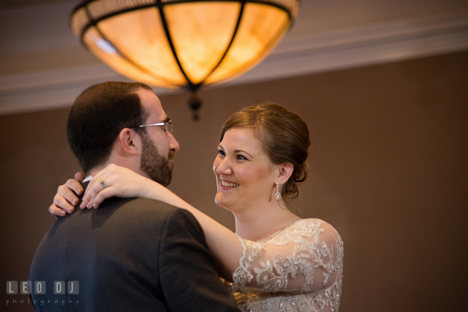 Bride and Groom smiling during their first dance. The Tidewater Inn wedding, Easton, Eastern Shore, Maryland, by wedding photographers of Leo Dj Photography. http://leodjphoto.com