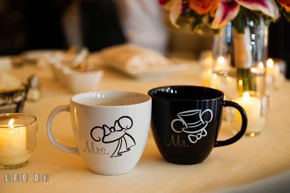Mr and Mrs Disney mugs of Mickey and Minnie Mouse. The Tidewater Inn wedding, Easton, Eastern Shore, Maryland, by wedding photographers of Leo Dj Photography. http://leodjphoto.com