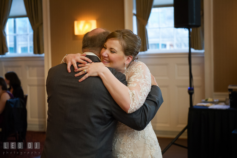 Bride hugging Dad during Father-Daughter dance. The Tidewater Inn wedding, Easton, Eastern Shore, Maryland, by wedding photographers of Leo Dj Photography. http://leodjphoto.com