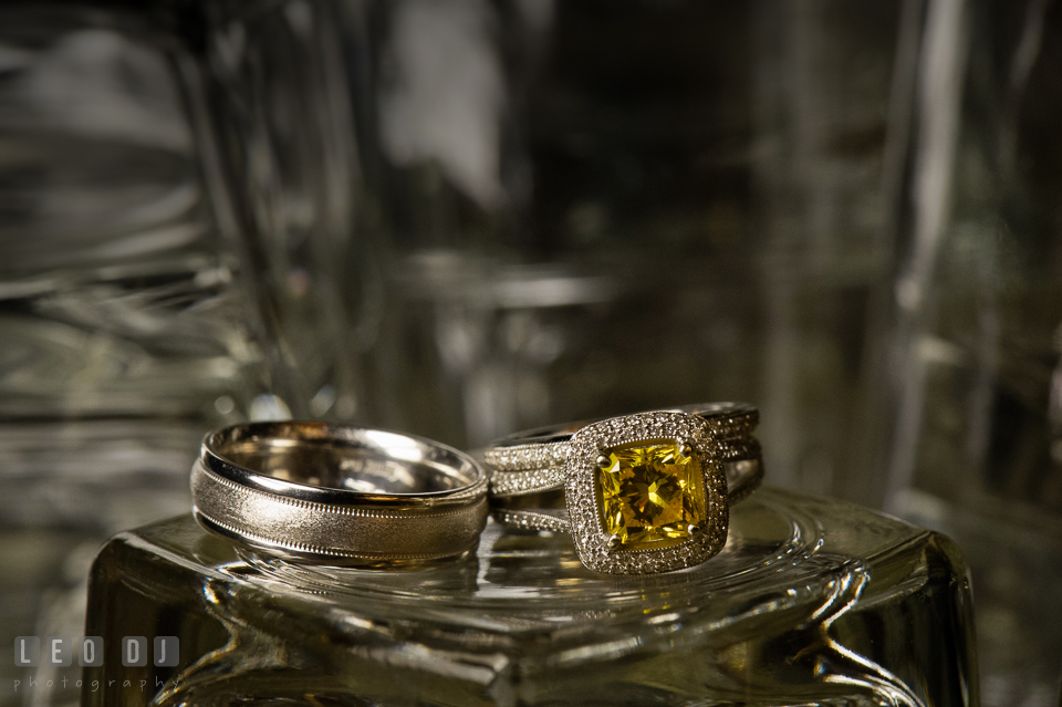 Close up shot of wedding bands and engagement ring from G&H Jewelers. The Tidewater Inn wedding, Easton, Eastern Shore, Maryland, by wedding photographers of Leo Dj Photography. http://leodjphoto.com
