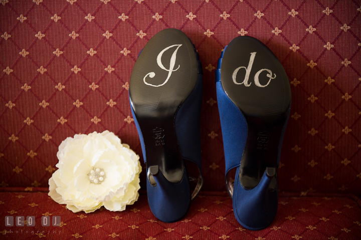 Bride's wedding shoes with I do on sole and flower for hair. Kent Island Maryland Matapeake Beach wedding ceremony and getting ready photo, by wedding photographers of Leo Dj Photography. http://leodjphoto.com