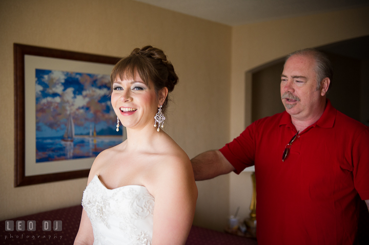 Father of Bride tapping daughter's shoulder. Kent Island Maryland Matapeake Beach wedding ceremony and getting ready photo, by wedding photographers of Leo Dj Photography. http://leodjphoto.com