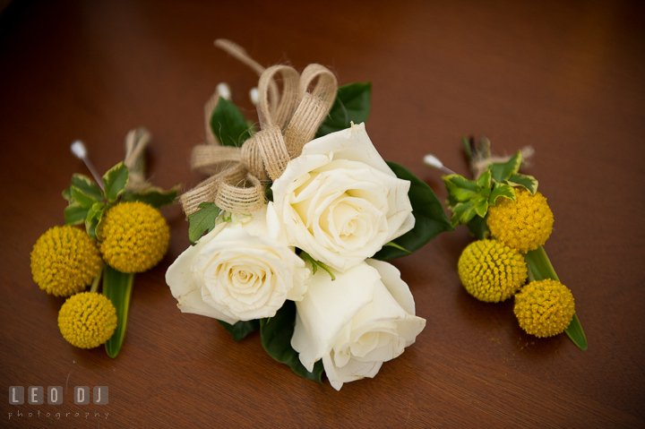 Flower for boutonniere for Groom and Best Man and corsage for Mother of Bride and Groom. Kent Island Maryland Matapeake Beach wedding ceremony and getting ready photo, by wedding photographers of Leo Dj Photography. http://leodjphoto.com