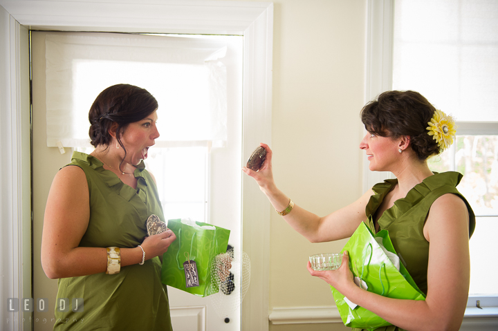 Bridesmaid and Maid of Honor opening gifts from Bride. Kent Island Maryland Matapeake Beach wedding ceremony and getting ready photo, by wedding photographers of Leo Dj Photography. http://leodjphoto.com