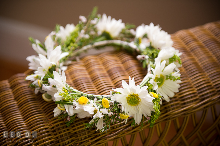 Floral crown of daisy for the flower girls. Kent Island Maryland Matapeake Beach wedding ceremony and getting ready photo, by wedding photographers of Leo Dj Photography. http://leodjphoto.com