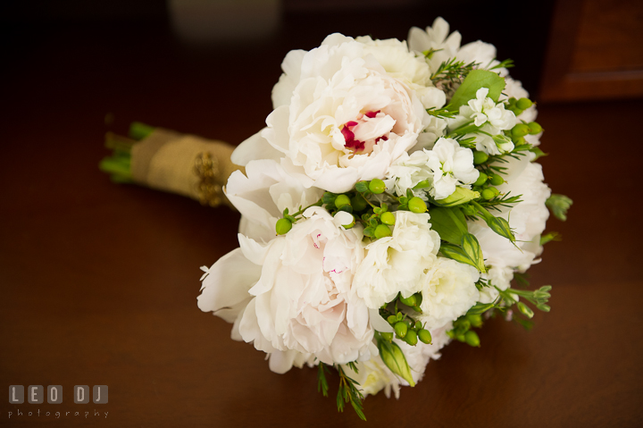 Close up shot of Bride's flower bouquet. Kent Island Maryland Matapeake Beach wedding ceremony and getting ready photo, by wedding photographers of Leo Dj Photography. http://leodjphoto.com