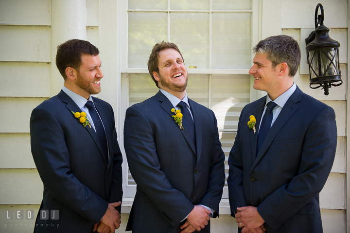 Groom laughing together with Best Man and Groomsman. Kent Island Maryland Matapeake Beach wedding ceremony and getting ready photo, by wedding photographers of Leo Dj Photography. http://leodjphoto.com