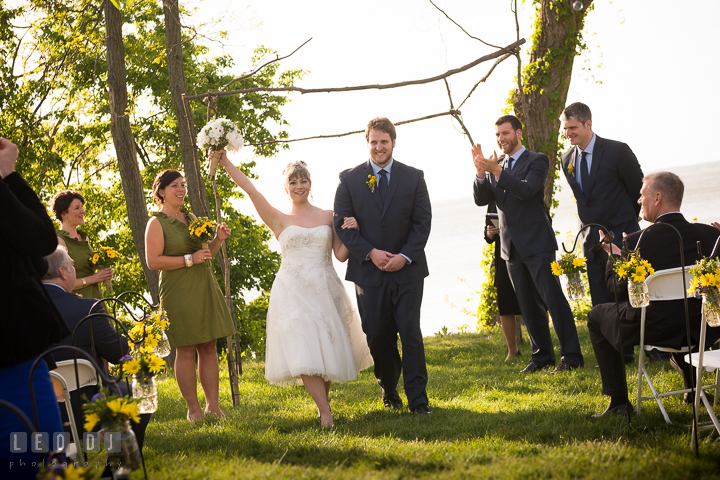 Bride and Groom officially announced as husband and wife. Kent Island Maryland Matapeake Beach wedding ceremony and getting ready photo, by wedding photographers of Leo Dj Photography. http://leodjphoto.com