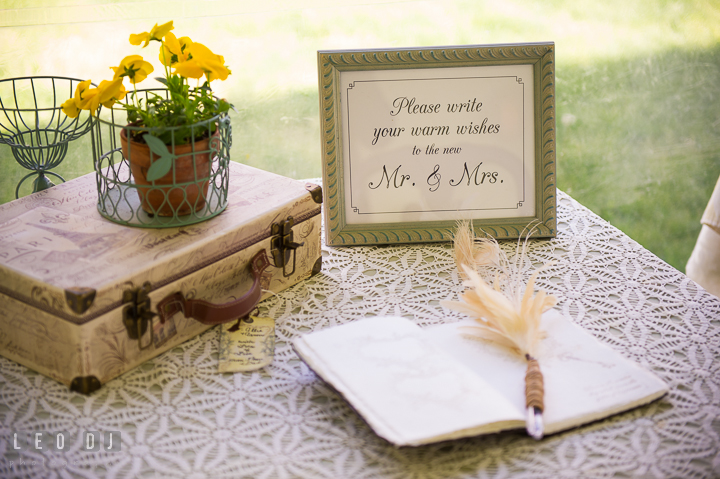 Guest signing table with vintage decorations. Kent Island Maryland Matapeake Beach wedding reception party and romantic session photo, by wedding photographers of Leo Dj Photography. http://leodjphoto.com