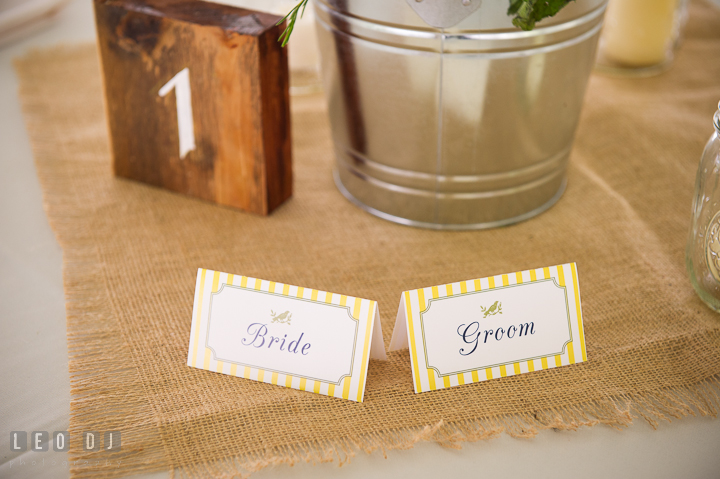 Bride and Groom place card on the sweet heart table. Kent Island Maryland Matapeake Beach wedding reception party and romantic session photo, by wedding photographers of Leo Dj Photography. http://leodjphoto.com