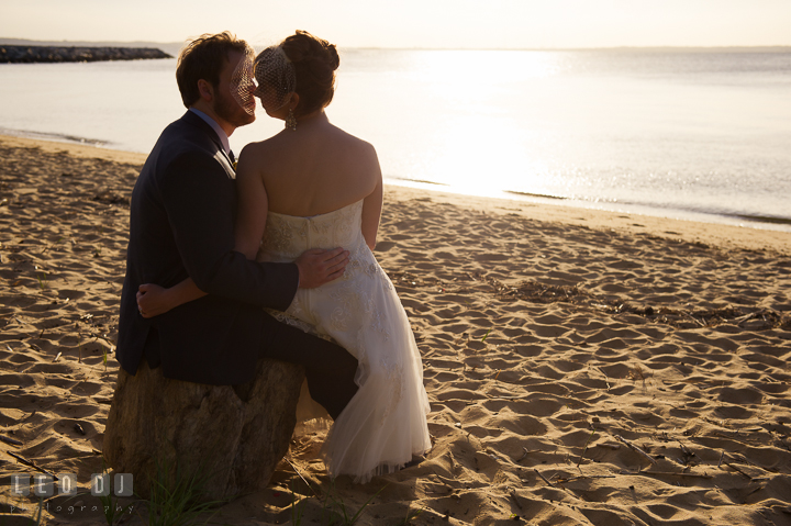Silhouette of Bride and Groom almost kissed. Kent Island Maryland Matapeake Beach wedding reception party and romantic session photo, by wedding photographers of Leo Dj Photography. http://leodjphoto.com