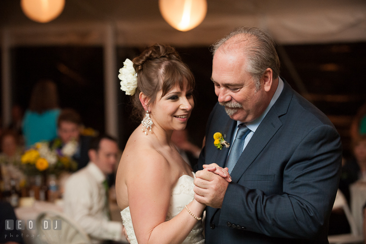 Father of the Bride and daughter dance. Kent Island Maryland Matapeake Beach wedding reception party and romantic session photo, by wedding photographers of Leo Dj Photography. http://leodjphoto.com