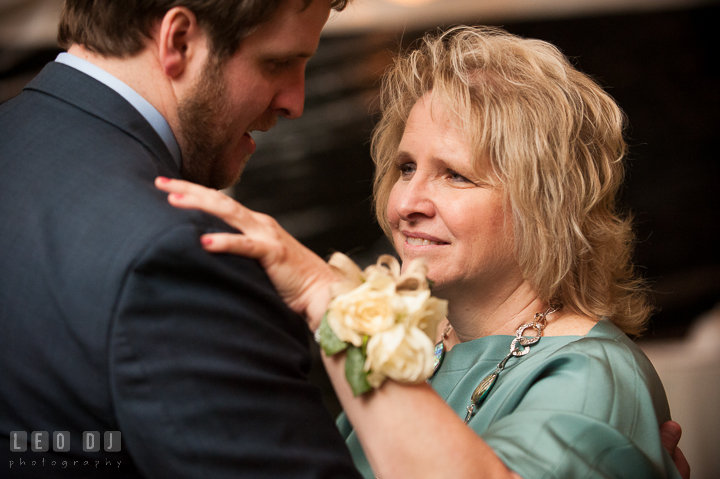 Mother of the Groom and son dance. Kent Island Maryland Matapeake Beach wedding reception party and romantic session photo, by wedding photographers of Leo Dj Photography. http://leodjphoto.com