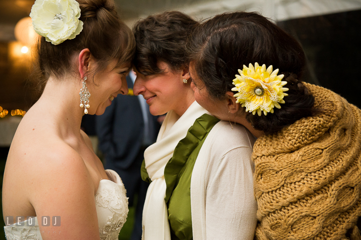 Bride, Bridesmaid and Maid of Honor smiling together. Kent Island Maryland Matapeake Beach wedding reception party and romantic session photo, by wedding photographers of Leo Dj Photography. http://leodjphoto.com
