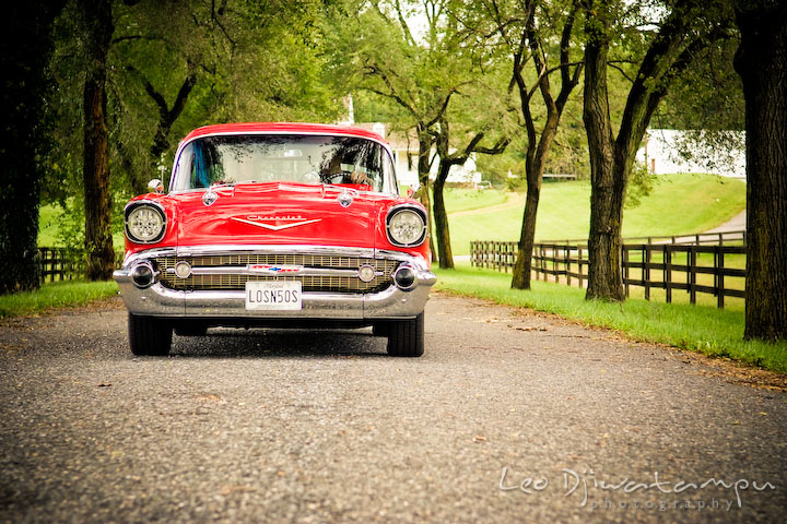 Engaged Couple Driving Antique Car Pre Wedding Engagement Photography Session Old Chevy Bel