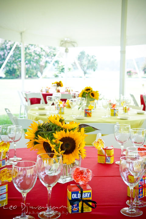 Sun flower, old bay spice, crab lollypop, centerpiece table decoration. Cove Creek Country Club, Stevensville, Kent Island, Eastern Shore, Maryland Wedding Photographer, beach wedding photographer