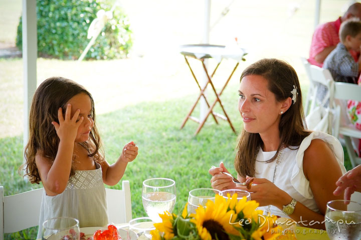Mother and daughter having lunch at a table. Cove Creek Country Club, Stevensville, Kent Island, Eastern Shore, Maryland Wedding Photographer, beach wedding photographer