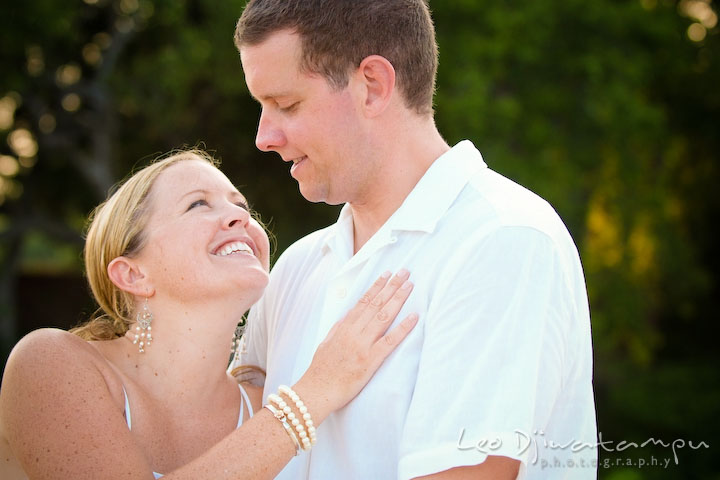 Bride and groom smiling and looking at each other. Cove Creek Country Club, Stevensville, Kent Island, Eastern Shore, Maryland Wedding Photographer, beach wedding photographer