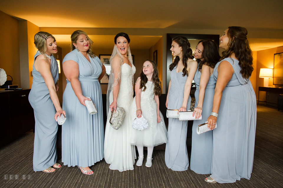Westin Annapolis Hotel Bride, daughter and Bridesmaids with new purses photo by Leo Dj Photography