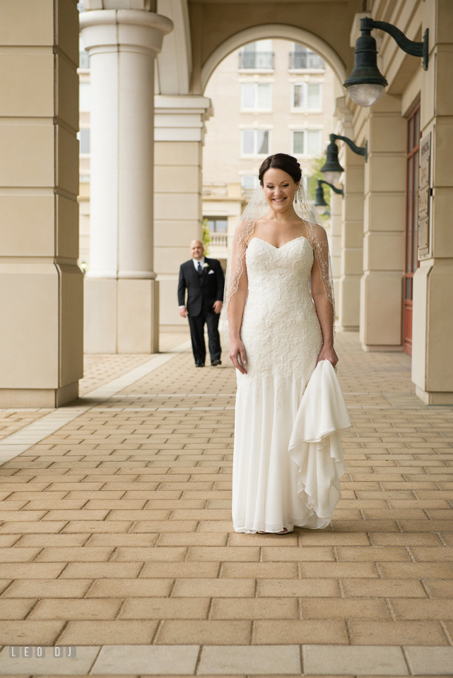 Westin Annapolis Hotel bride waiting for groom for first look photo by Leo Dj Photography