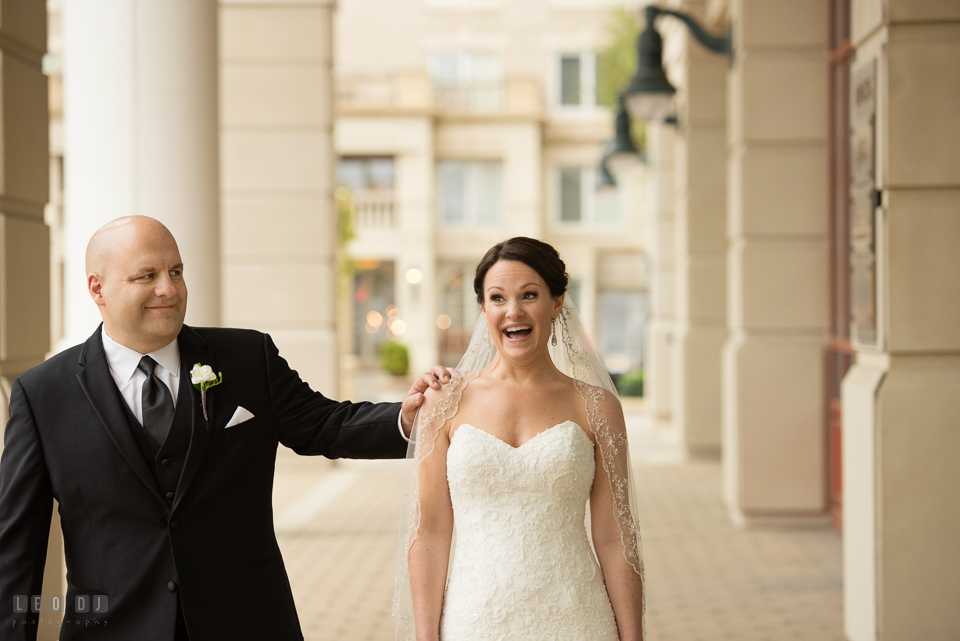 Westin Annapolis Hotel bride excited as groom arrived during first look photo by Leo Dj Photography