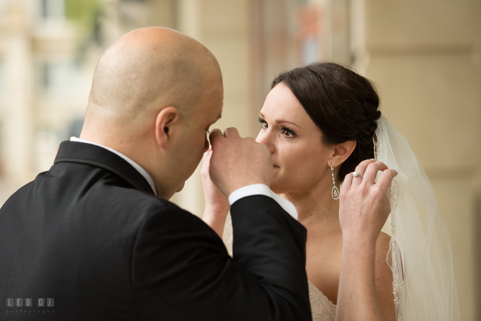 Westin Annapolis Hotel bride and groom shed tear during first look photo by Leo Dj Photography