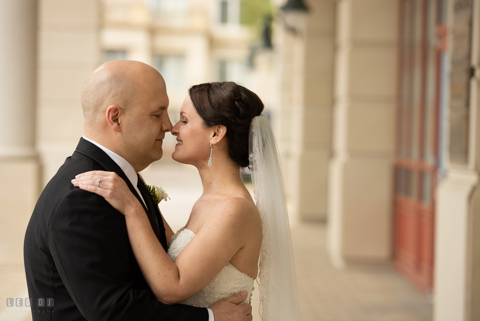 Westin Annapolis Hotel bride and groom hudding and cuddling during first look photo by Leo Dj Photography