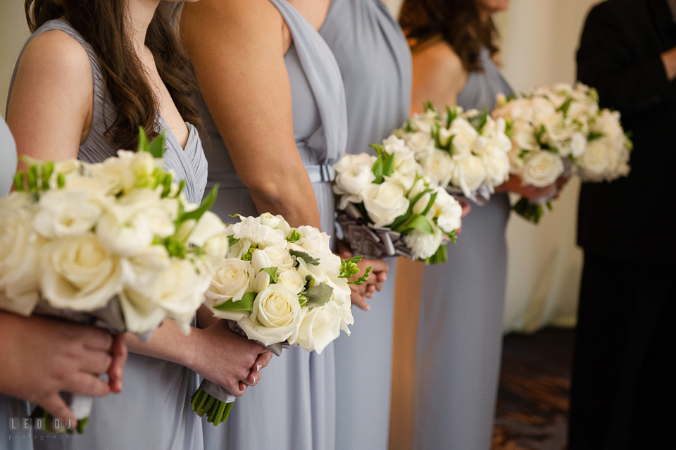 Westin Annapolis Hotel bridesmaids holding rose bouquets designed by Florist Blue Vanda Designs photo by Leo Dj Photography