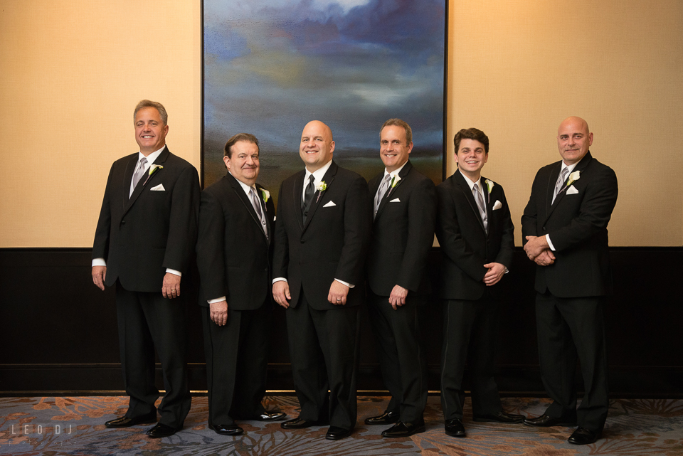 Westin Annapolis Hotel groom with best man and groomsmen posing photo by Leo Dj Photography