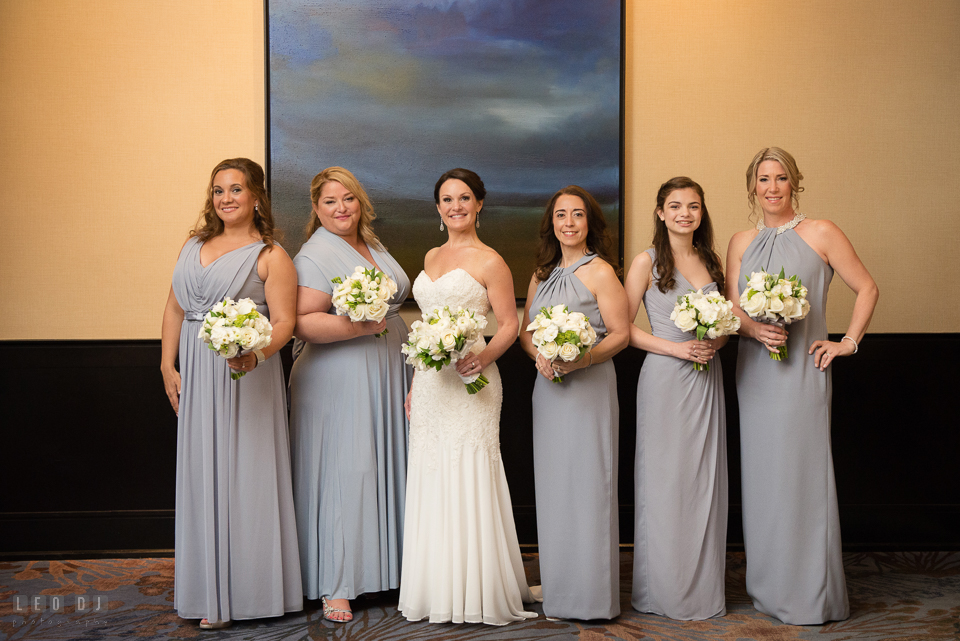 Westin Annapolis Hotel Bride, Maid of Honor and Bridesmaids with flower bouquets photo by Leo Dj Photography