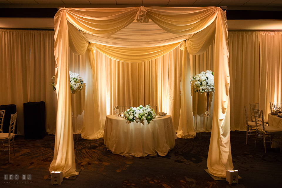 Westin Annapolis Hotel sweetheart table with canopy and custom drapes by Event Dynamics photo by Leo Dj Photography