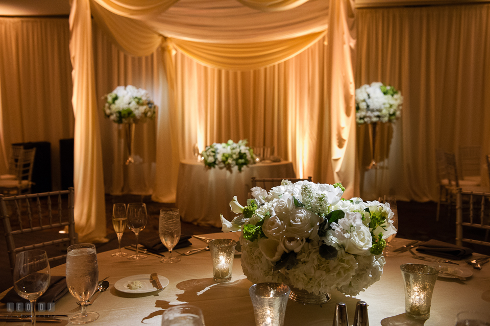 Westin Annapolis Hotel white rose table centerpieces by Florist Blue Vanda Designs photo by Leo Dj Photography