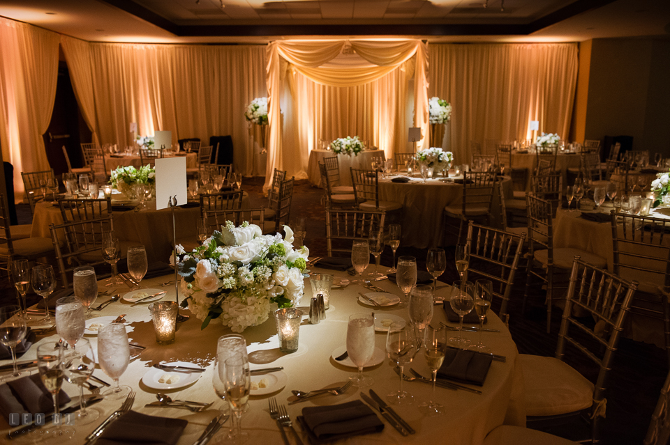 Westin Annapolis Hotel ballroom setting with custom drapes and uplighting by Event Dynamics photo by Leo Dj Photography
