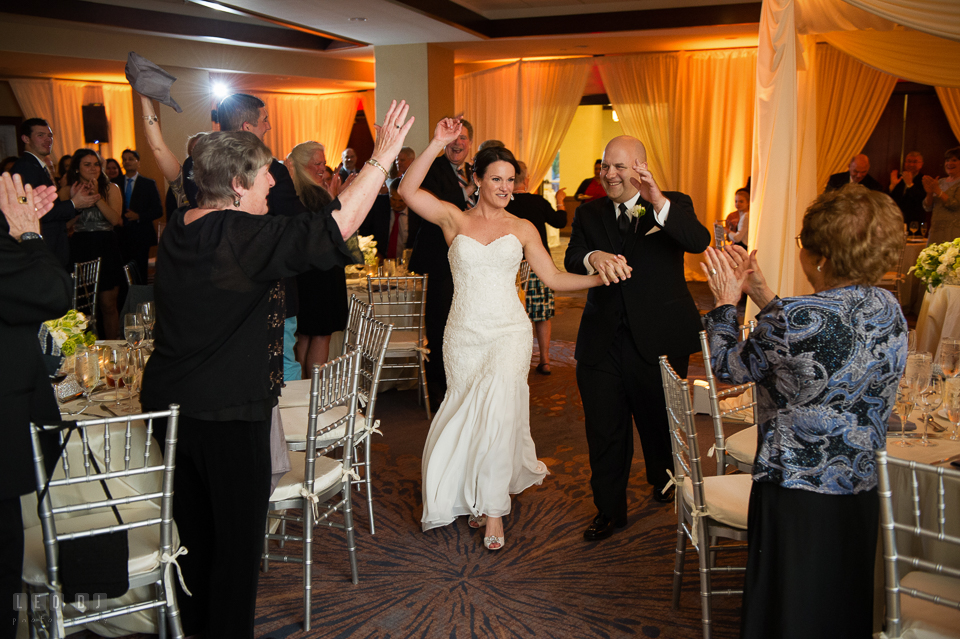 Westin Annapolis Hotel bride and groom entering ballroom during introduction photo by Leo Dj Photography