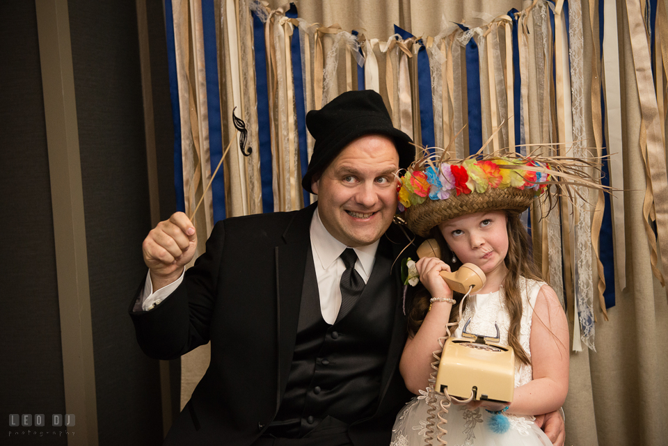 Westin Annapolis Hotel groom and daughter posing in booth by Chesapeake Photo Booth photo by Leo Dj Photography