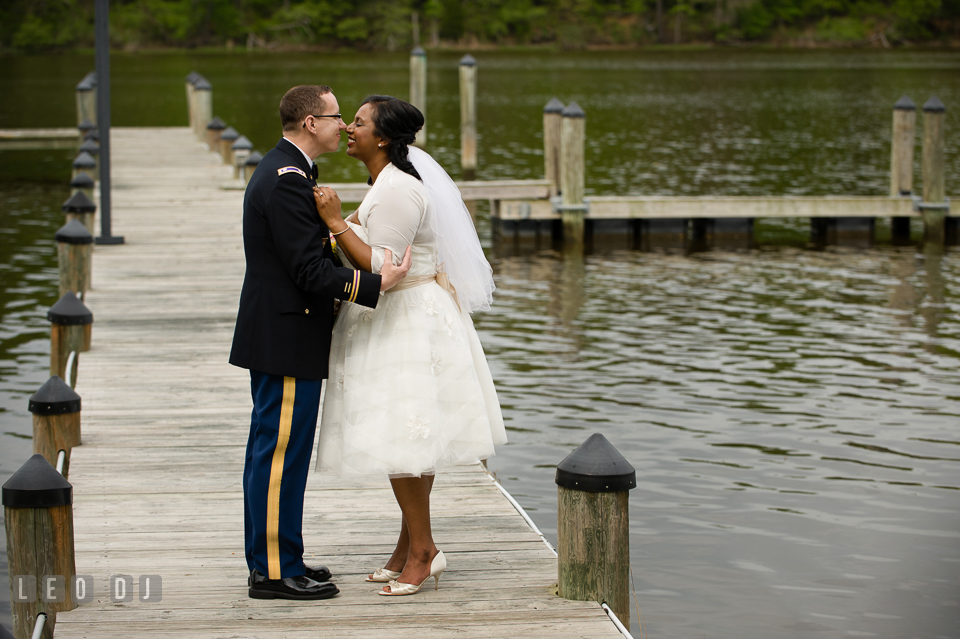 Bride and Groom almost kissed on the pier. Aspen Wye River Conference Centers wedding at Queenstown Maryland, by wedding photographers of Leo Dj Photography. http://leodjphoto.com