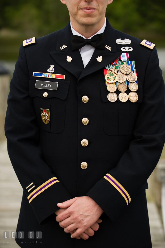 Groom wearing US Army military uniform. Aspen Wye River Conference Centers wedding at Queenstown Maryland, by wedding photographers of Leo Dj Photography. http://leodjphoto.com