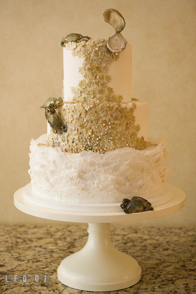 Beautiful detailed wedding cake custom made by Maggie Austin. Aspen Wye River Conference Centers wedding at Queenstown Maryland, by wedding photographers of Leo Dj Photography. http://leodjphoto.com